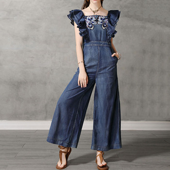 Casual Vintage Denim Jumpsuit Women Embroidery Petal Sleeves Pockets Wide Legs Jumpsuit Loose Office Ladies Pants High Street plus size plain loose wide legs jumpsuit