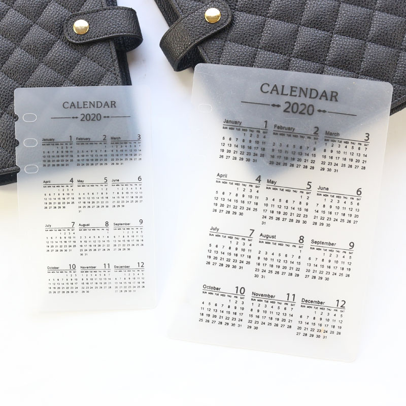 Domikee Classic 2020 Year Calendar PVC 6 Holes Index Divider For Spiral Binder Planner Notebooks Stationery Supplies A5A6