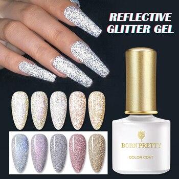 BORN PRETTY Reflective Glitter Gel Nail Polish 6ml Auroras Holographics Effect Soak Off UV Gel Shining Semi-transparent Varnish 1