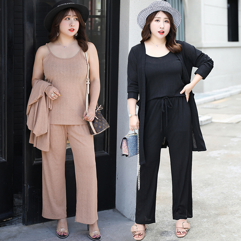 2019 Autumn New Style Large GIRL'S Size Large Size Dress Plus-sized Elegant Knitting Suit A Generation Of Fat Y083