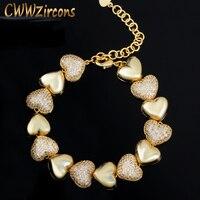 CWWZircons Hohe Qualität Micro Pflastern Zirkonia Afrikanischen 585 Gelb Gold Liebe Herz Form Damen Armbänder Schmuck Geschenk CB202