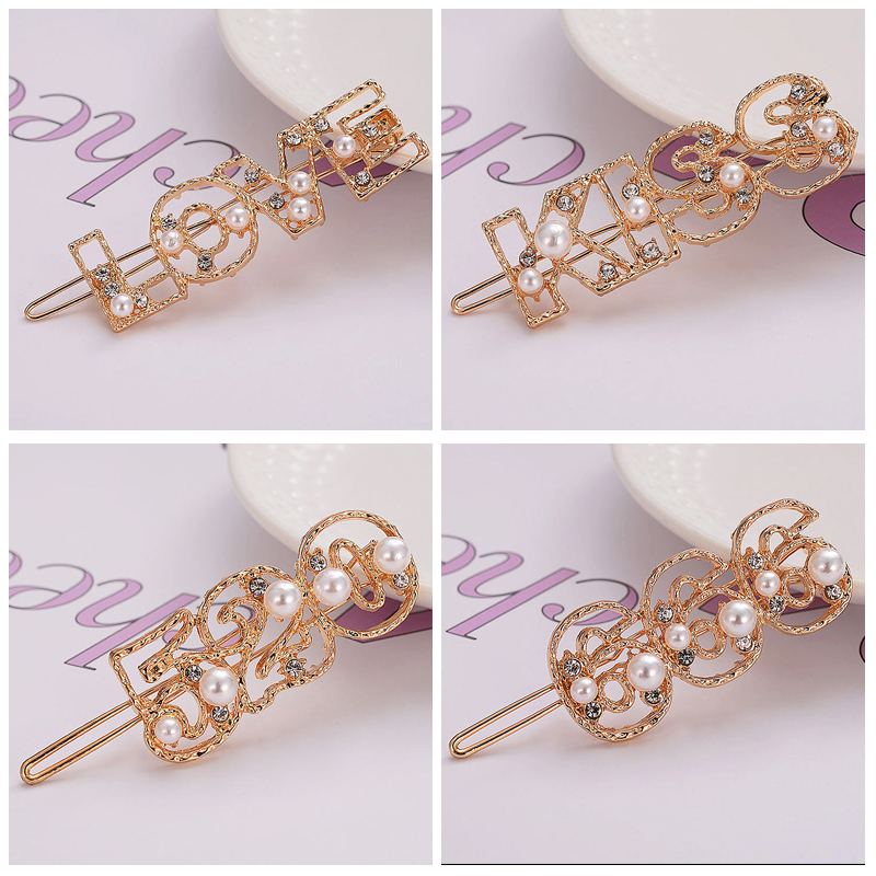 Women Sweet Pearl Letter Hollow Hair Clip Crystal Hair Accessories Kiss Love Gold Color Hairpins in Women 39 s Hair Accessories from Apparel Accessories