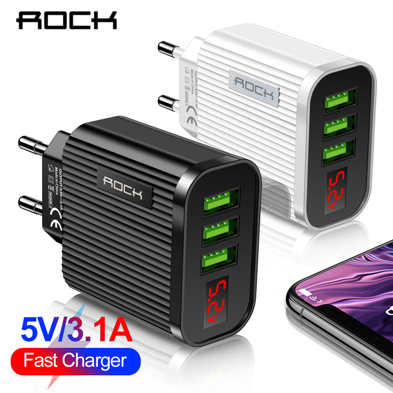 ROCK Digital Display Phone Charger 3 Port USB 3A Max Smart Fast Charger Travel Wall Charger Adapter For iPhone Samsung Xiaomi(China)