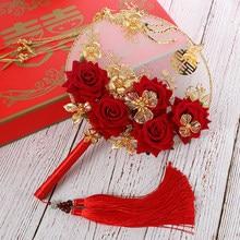 Eventail rond fait à la main 32x22cm, Kit de matériel de photographie de mariée chinoise antique, fleurs d'ornements