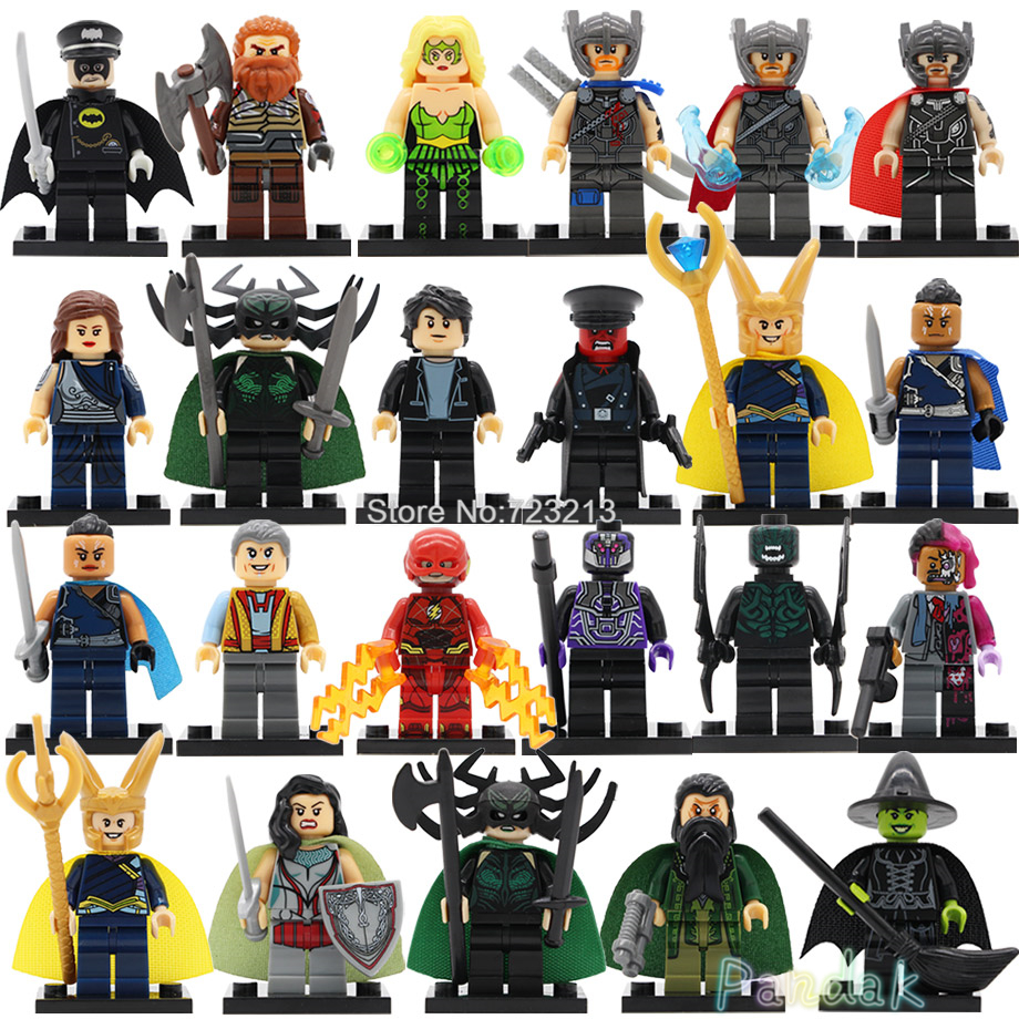 Single Super Hero Marvel Thor Hela Valkyrie Figure Volstagg Grandmaster Ragnarok Loki Steward Man Building Blocks Toys Legoing