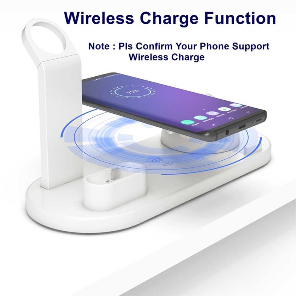Qi Wireless Charger Stand 10w แท่นวางสำหรับผู้ถือโทรศัพท์มือถือ Fast Charger สำหรับ IPhone XR X 8 7 6 wireless QI Dock สำหรับ Apple Watch