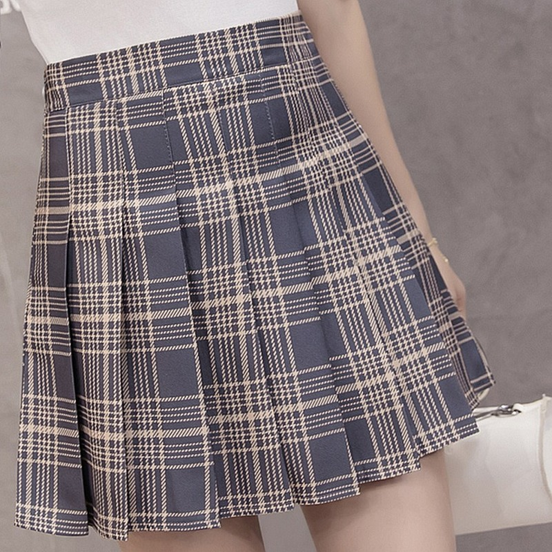 Korean Pleated Mini Skirts Preppy Plaid  A-Line Skirt High Waist Skirts Cute and Sweet Dance Skirt Above Knee