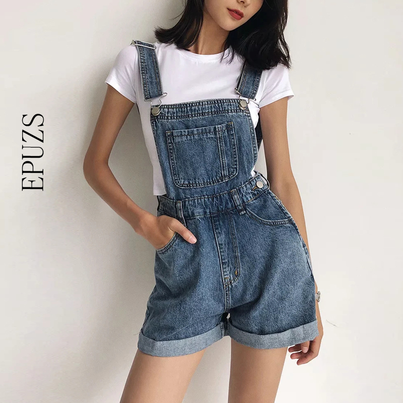 vintage sleeveless denim jumpsuit women high waist shorts Overalls sexy backless black playsuit casual jeans jumpsuit 2020