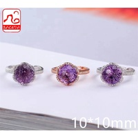 Baceda Natrual Crystal Natural Amethyst Ring February Birthstone Fireworks cutting More shining 10mm  Adjustable/Free Size S925 2