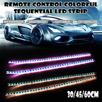 2x Slim Flexible Multi Color RGB DRL LED Strip Light can cut for Headlight Sequential Flowing Amber Turn Signal Light 60/45/30CM