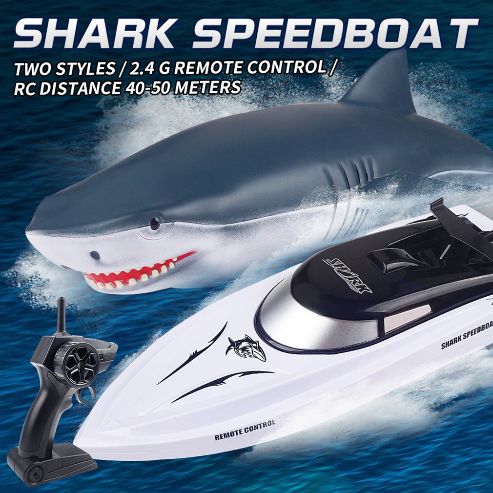Remote Control Shark Boats For Pools Lakes 4 Channel 2.4 GHz Fast Racing Boats Shark Shaped Shell Boot USB Rechargeable