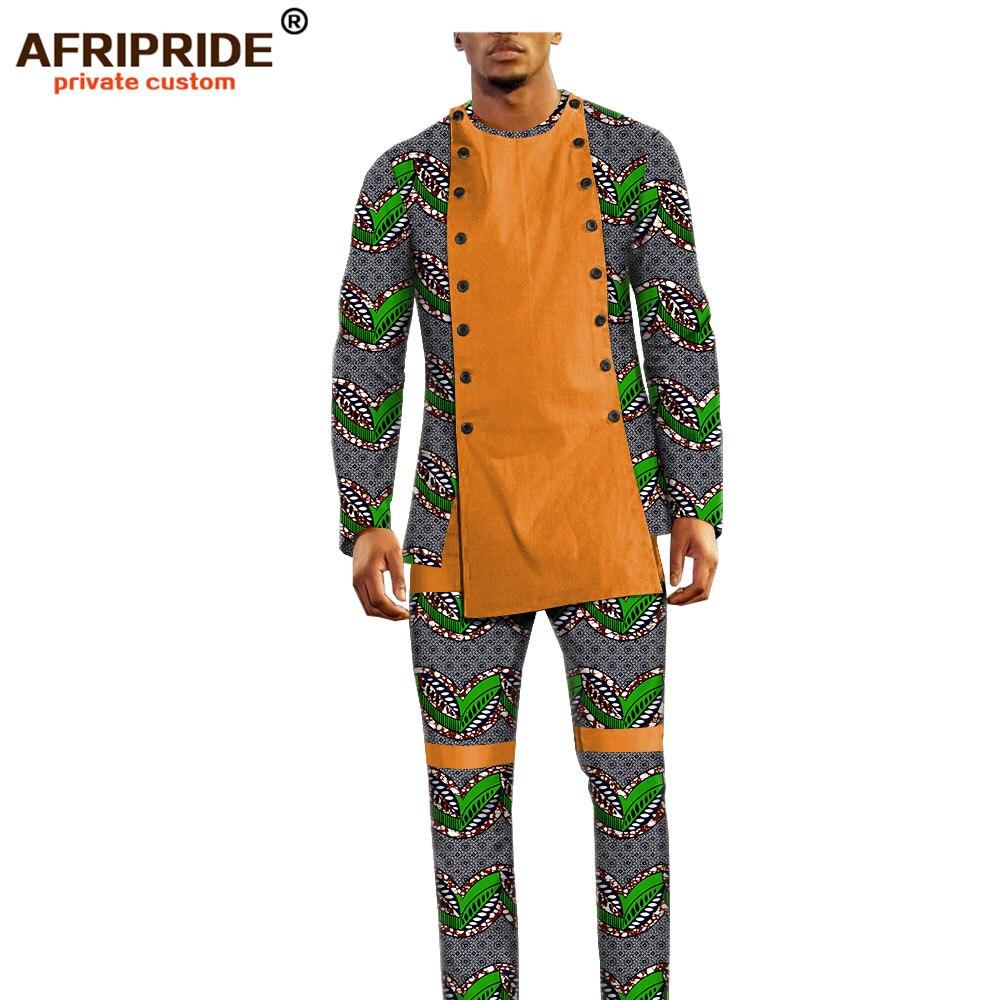 Image 3 - african ankara dashiki pants set for men AFRIPRIDE bazin richi  full sleeve top full length pants mens casual set A1816011Mens Sets