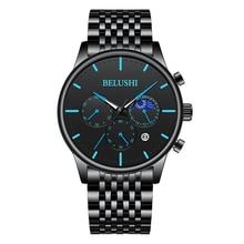 BELUSHI sports watch men's luminous Moon Phase calendar waterproof watch men's watch trend multi function fashion quartz watch