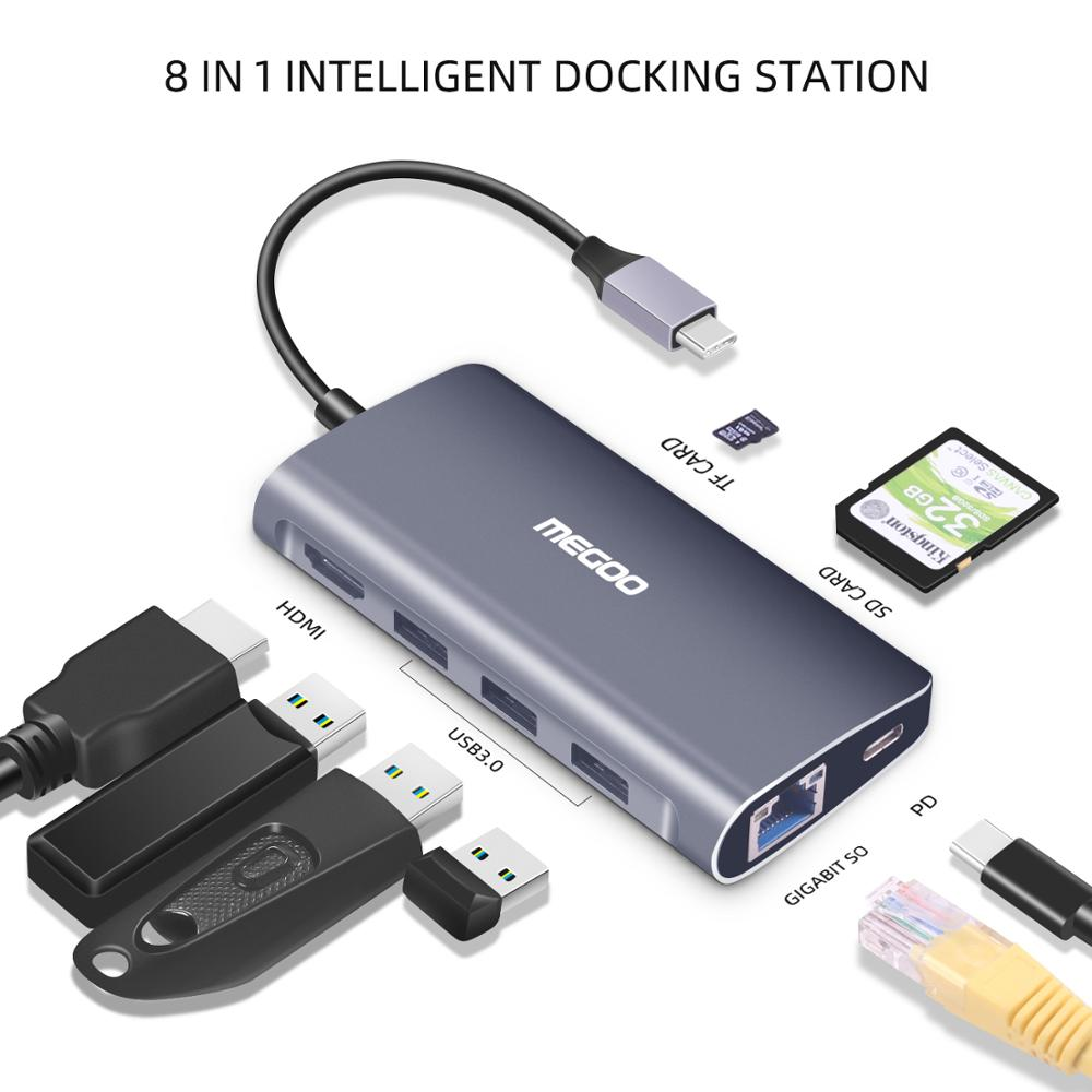 Megoo 8 in 1 USB C Laptop Docking Station Type C to VGA/HDMI/Ethernet/USB3.0/PD Charge Docking Station For Surface Go/Mac Pro