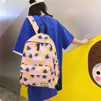 2019 bolso de viaje con estampado de piña, Mochila de estilo universitario...