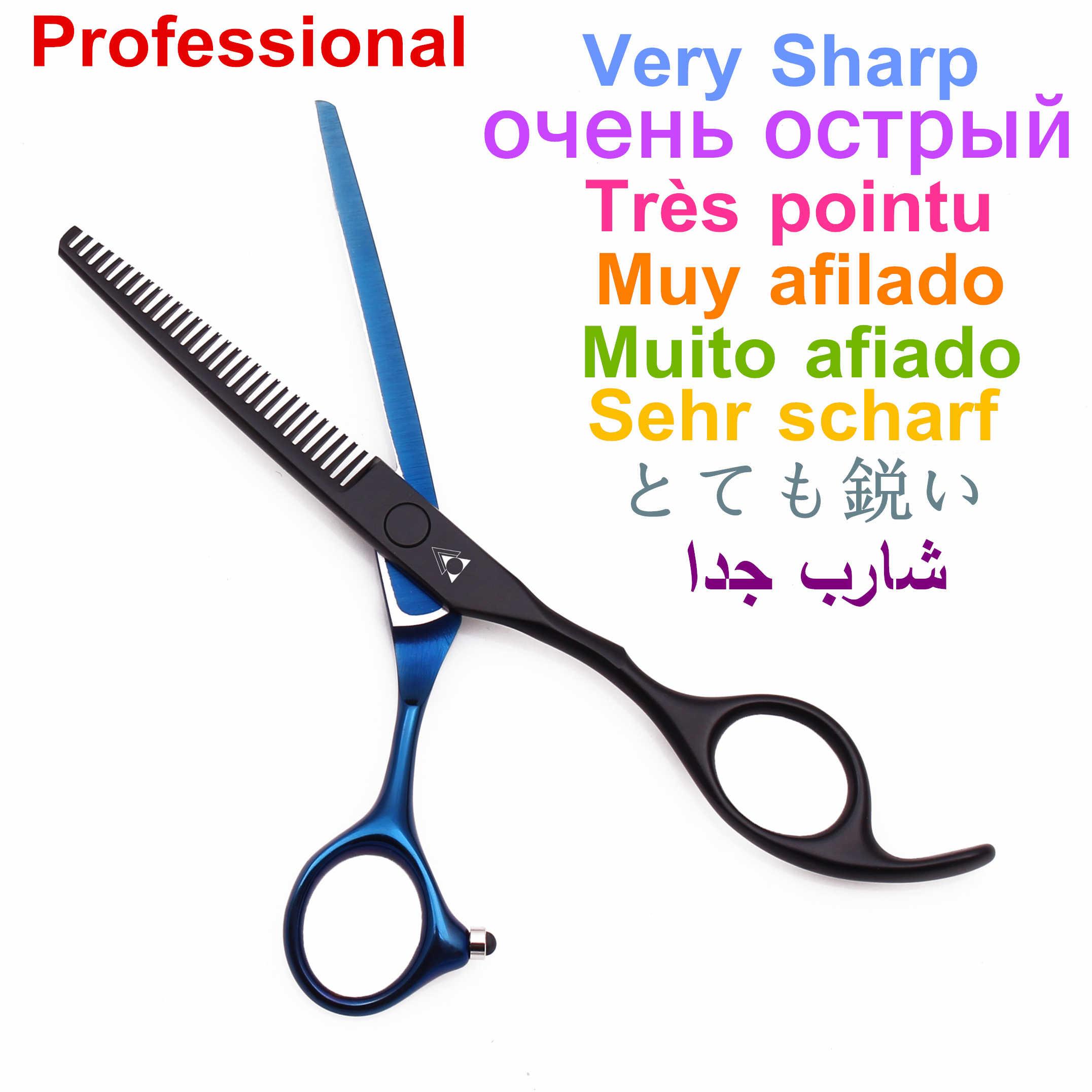 Tesoura de desbaste para cabelo, conjunto de tesouras 5.5 6.0 de cabeleireiro profissional 440c aço japonês 888 #