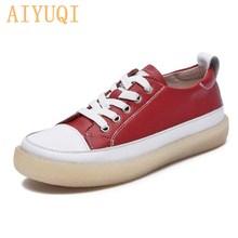 Damskie buty ze sprężynami 2021 nowe oryginalne skórzane trendy dopasowane kolory damskie buty płaska podeszwa sznurowane Casual Girl buty studenckie tanie tanio AIYUQI Prawdziwej skóry Skóra bydlęca CN (pochodzenie) Płytkie Mieszane kolory Dla dorosłych Wiosna jesień Mieszkanie (≤1cm)