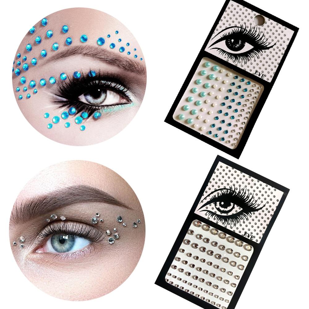 Music Festival Hot 3D Single Grain with Glue DIY Eye Crystal Sticker Makeup Highlight Trendy Shiny Acrylic Drill Tattoo Sticker