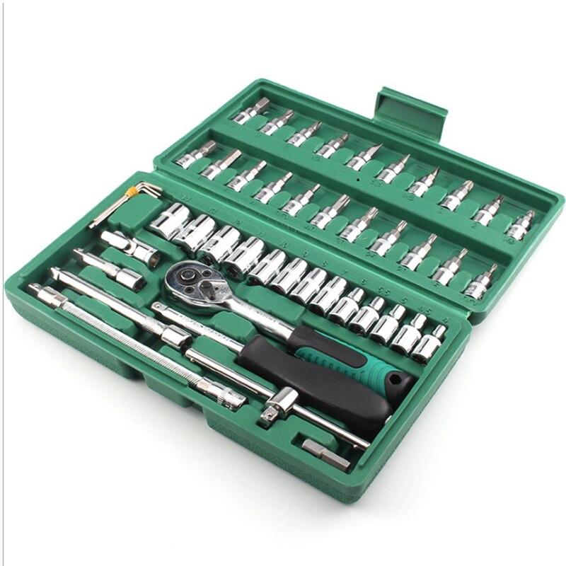 Купить с кэшбэком 46PCS Combination Tool Ratchet Wrench Set Batch Head Ratchet Pawl Socket Spanner Screwdriver Socket Set for Car Repair Tools