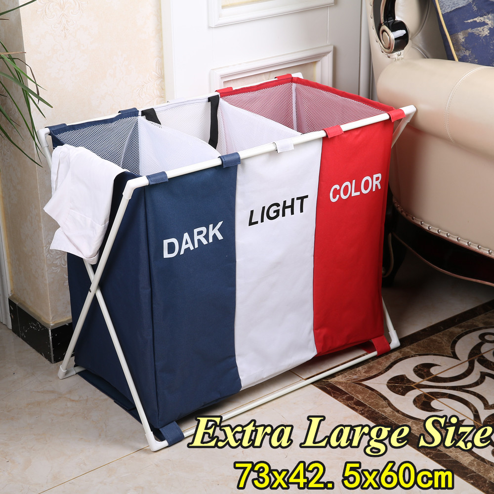 Collapsible Laundry Cloth Hamper Sorter Basket Bin Foldable 3 Sections Washing Storage Dirty Clothes Bag Organizer