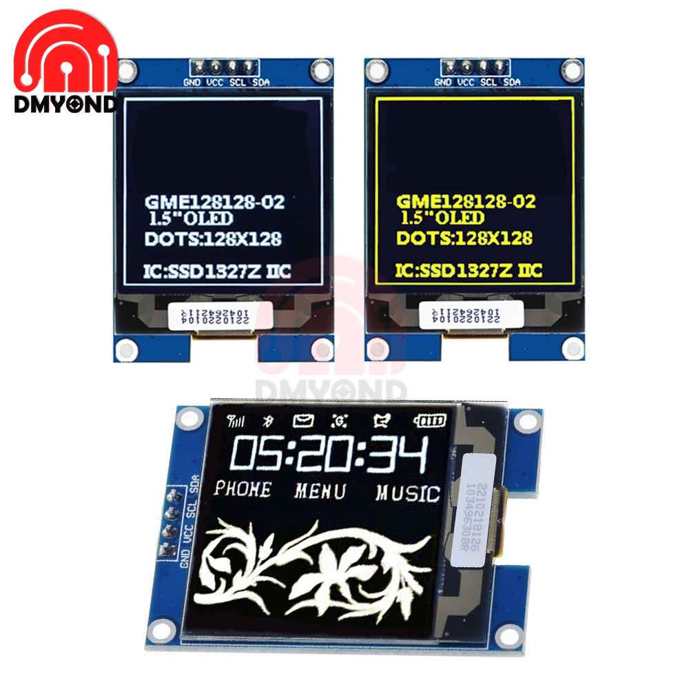 1.5 Inch <font><b>OLED</b></font> IIC Interface <font><b>SSD1327</b></font> Display Module 128X128 <font><b>OLED</b></font> Shield Screen Module For Raspberry Pi For STM32 For Arduino New image