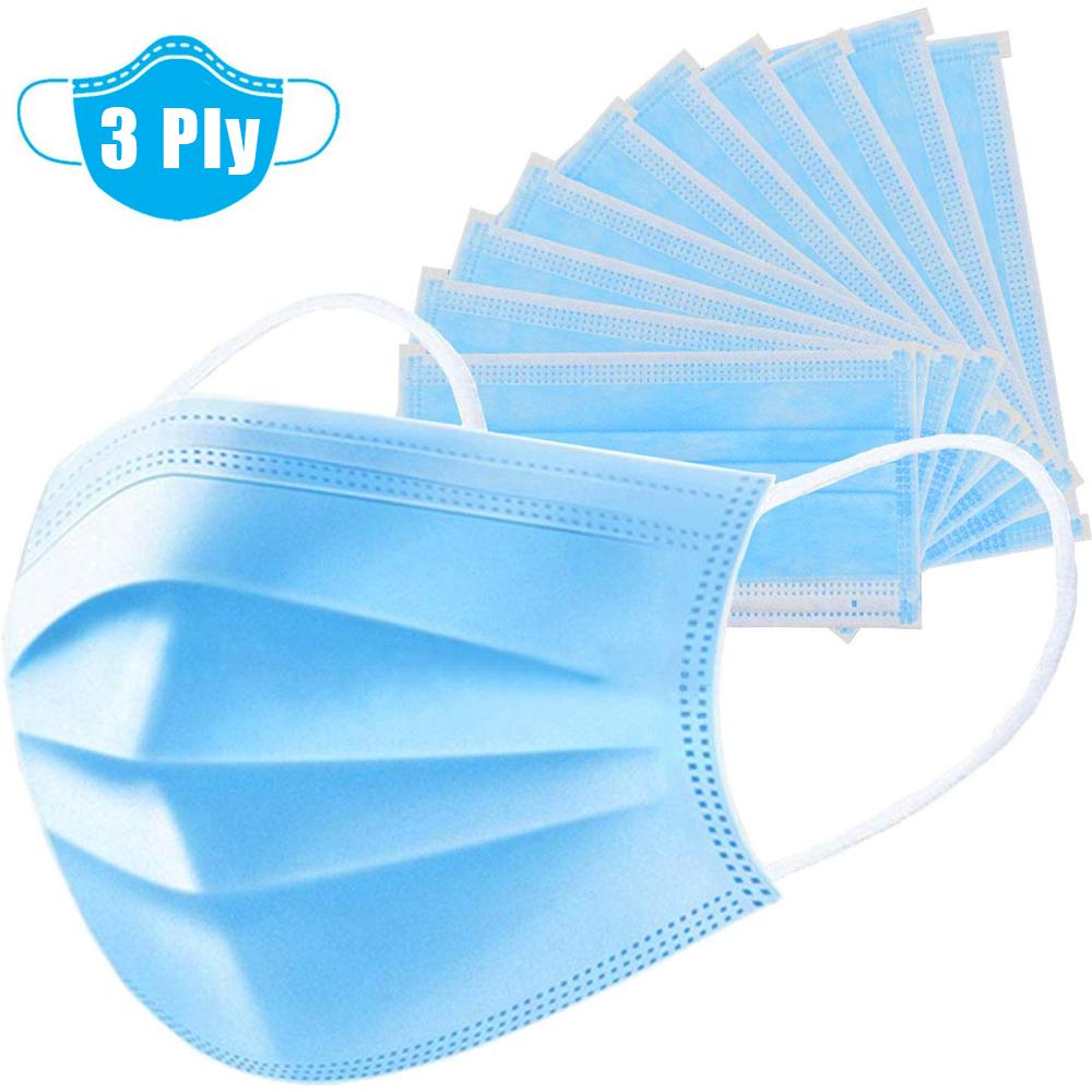 10/30Pcs 3-Ply Disposable Mask Anti-dust Safe And Breathable Masks Earloops Anti Fog And Haze Face Mouth Masks Respirator Sale