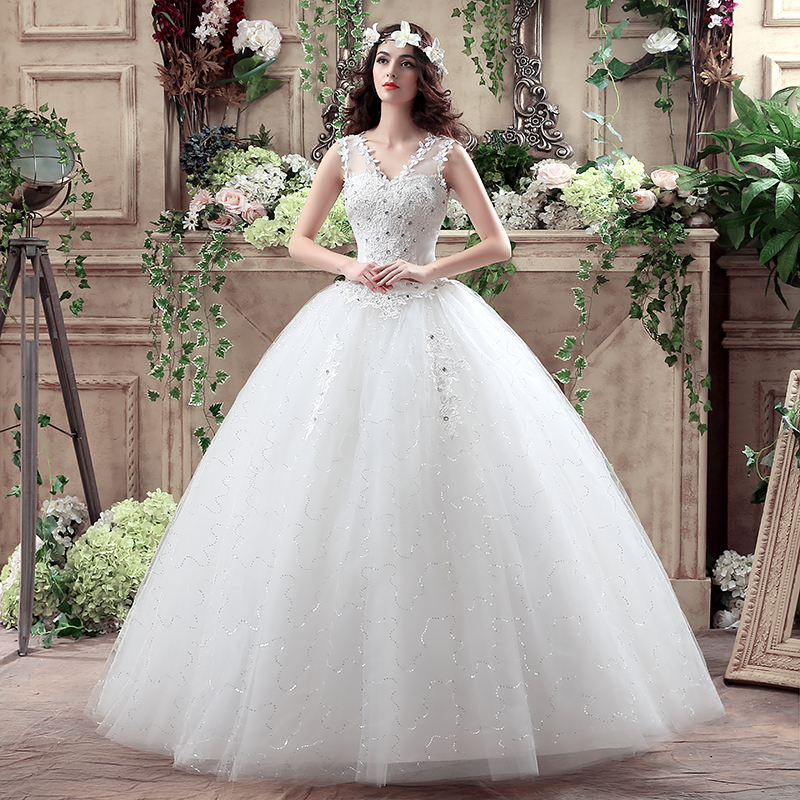 2019 Princess Wedding Dress V-neck New Lace Wedding Gowns Cheap Ball Gown Lace Up Formal Bride Dresses Wedding Dress