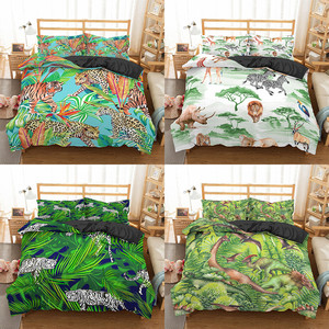 Homesky Jungle Animal Duvet Cover Pillowcase Comforter Quilt Cover Bedding Set Child Adult Bedroom Single Double Size Bedclothes