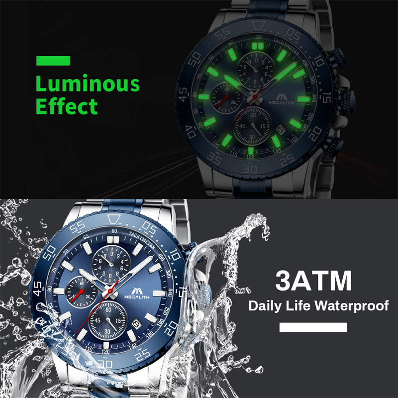 Image 2 - MEGALITH Watches Mens Waterproof Analogue Clock Fashion Stainless Steel Waterproof Luminous Watch Men Sports Relogio Masculino-in Quartz Watches from Watches