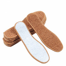 1 Pair Unisex Brown Insoles For Shoes Winter Warm Faux Fur Wool Insoles Men Women Soft Thick Snow Boots Inserts Shoe Soles Pad(China)