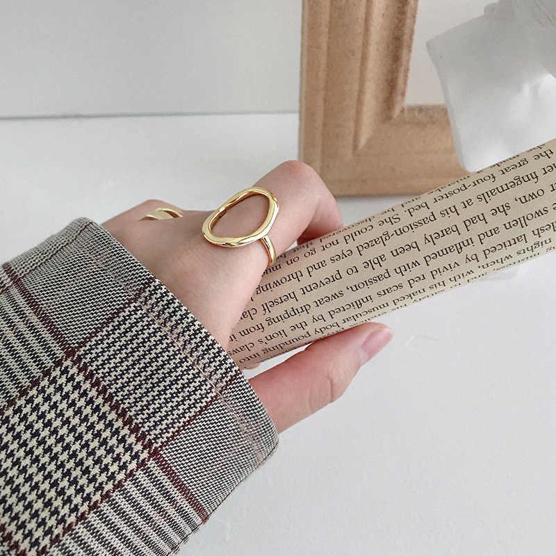 XIYANIKE, anillos de apertura huecos de Plata Irregular esterlina 925 para mujer, pareja de moda, regalos de joyería de fiesta geométricos simples