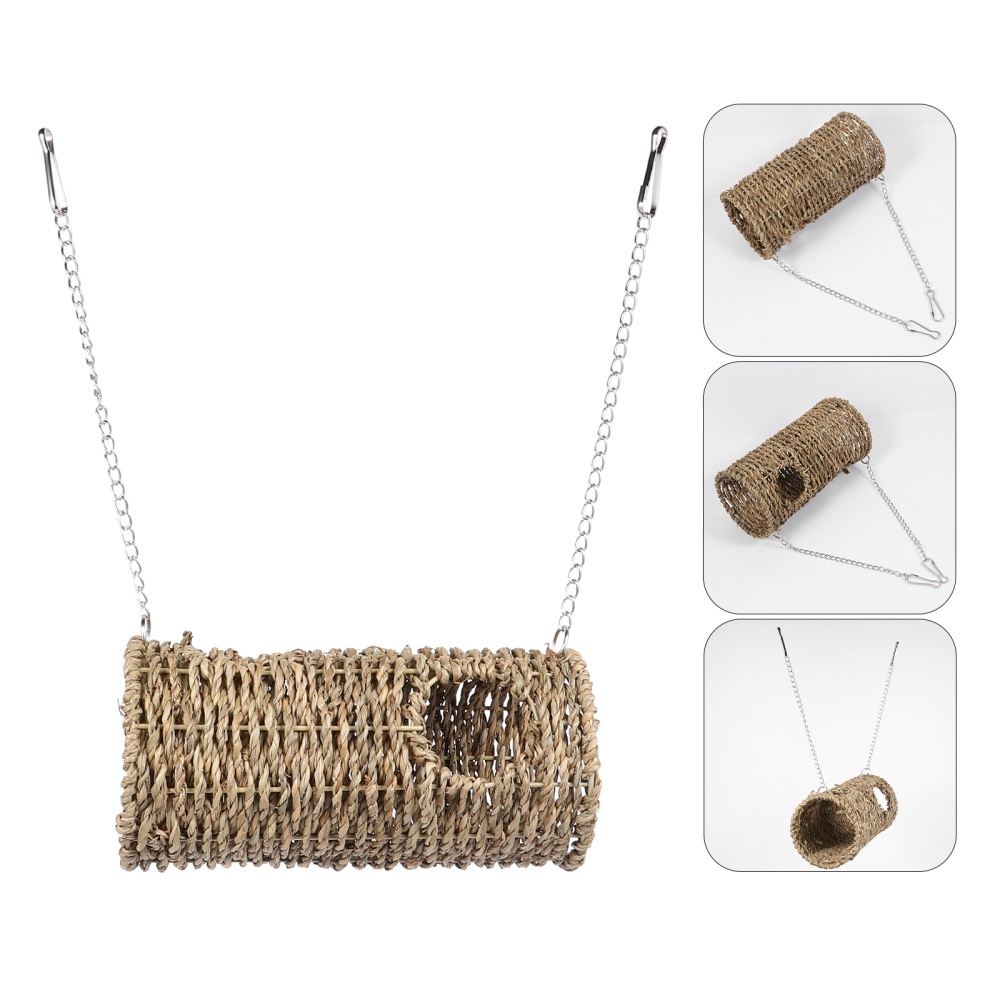 Pet Tunnel House Straw Woven Hamster Nest Home Pet with Hanging Chains