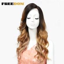FREEDOM-peluca sintética de malla con división frontal, pelo largo ondulado de 22 pulgadas, color rubio degradado, 3 colores, envío gratis