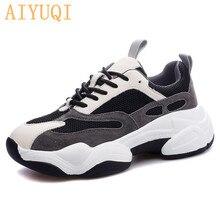 AIYUQI Sneakers women 2021 new women sneakers genuine leather white running shoes platform flat casual spring footwear female