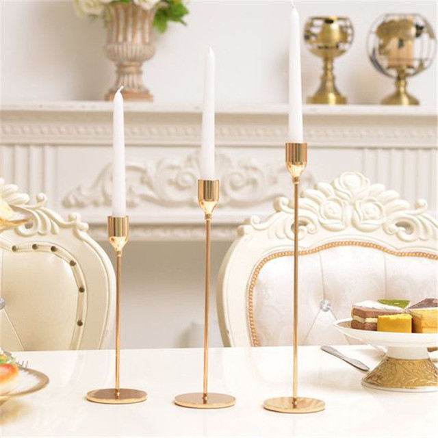 3 Pcs/ Set  European Metal Candle Holder Simple Golden Wedding Decoration Bar Party Living Room Decoration Home Decoration 3
