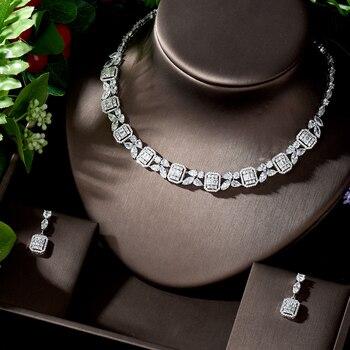 HIBRIDE Luxury Sparking Brilliant AAA CZ Drop Earring Necklace Heavy Dinner Jewelry Set Wedding Bridal Dress Accessories N-1268