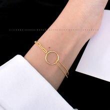 Louleur 925 Sterling Silber Doppel Schicht Kette Armbänder Für Frauen Minimalistischen Gold Runde Kreis Schwester Armbänder Schmuck Geschenk