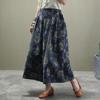Ethnic Style Plus Size Jeans Woman 2020 Spring Autumn Elastic Waist Floral Print Loose Pocket Denim Wide Leg Pants Ankle-length