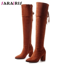 SARAIRIS New Plus Size 32-47 Hot Sale Thigh High Boots Women 2019 Winter Warm Fur Over Knee Lady Heels Shoes Woman