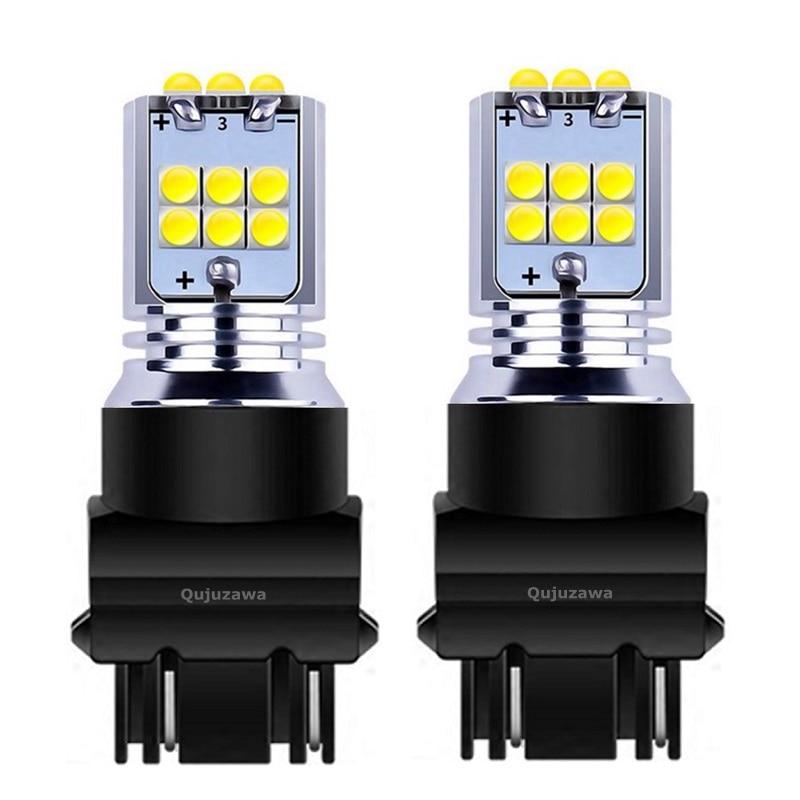 2 piezas T25 3157, 3156, 3057, 3457, 4157 P27/7 W P27W Super brillante 1800LM LED COCHE reverso lámparas luces de circulación diurna bombillas de señal de giro