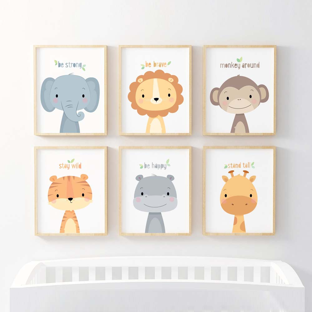 Safari Nursery Print Jungle Baby Animals Canvas Art Painting Posters Giraffe Elephant Lion Tiger Pictures Baby Room Wall Decor