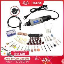 HILDA Mini taladro eléctrico de 400W para Dremel, herramientas rotativas, amoladora de velocidad Variable, herramientas de molienda con accesorios de grabado