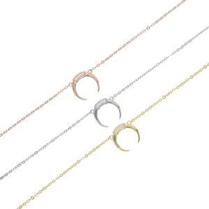 Image 5 - New 925 sterling silver cz Crescent Pendente Collana In Argento/Oro di Colore Cubic Zirconia CZ Islam Moon Star Dei Monili Delle Donne regalo