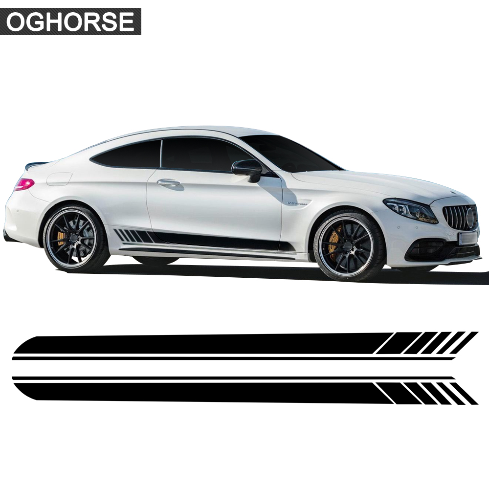 Autocollant à rayures latérales de porte de voiture   2 pièces, pour Mercedes Benz classe C W205 W204 C180 C200 C250 C300 C63 coupé AMG, accessoires