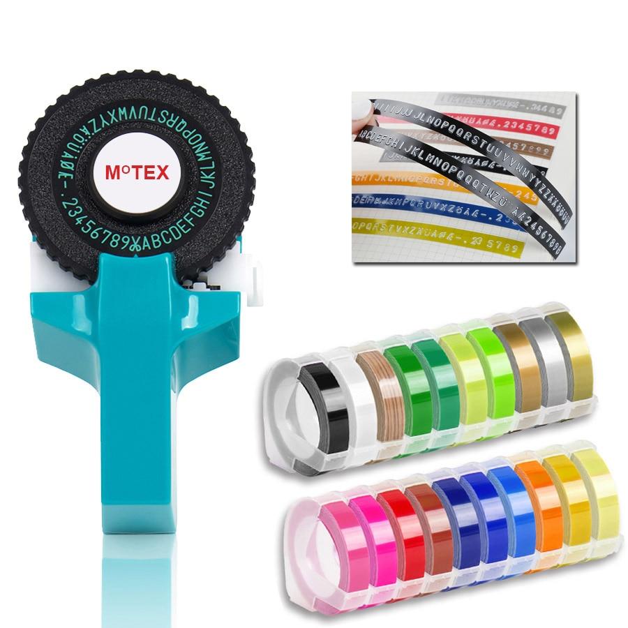 Sky Blue Color MoTex E101 Printer Mini DIY Hand compatible for dymo 3D embossing manual Tape Manual