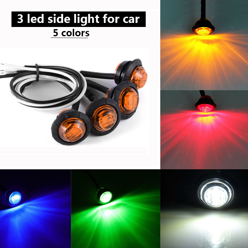 10pcs/lot 12V Truck Car Side Light Marker Lamp 3 LED Indicator Turning Tail Brake for Trailer Tractor Bus Lorry