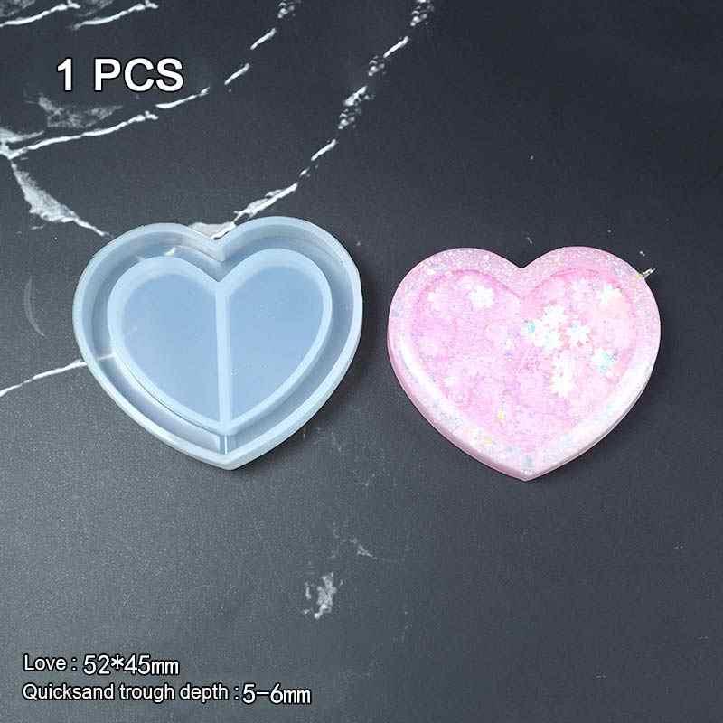 1 PC/1 Pack Bear Bintang Popsepoxy Resin Shaker Gantungan Kunci Pesona Kawaii Strawberry Shaker Cetakan Silikon Beruang Bintang es Loli