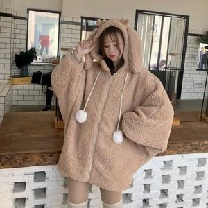 Image 3 - Elegante Faux Fur Hoodie Jas Vrouwen Herfst Winter Warm Soft Bont Rits Hoodies Pocket Leuke Konijnenoren Pluche Hoodies Sweatshirt
