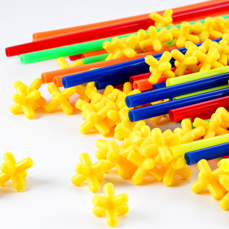 Image 4 - 4D DIY Magnetic Blocks Plastic Straw Fight Inserted Construction Building Kits Blocks Educational Toy for Children-in Magnetic from Toys & Hobbies