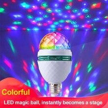 Colorido lâmpada led mini rotativa projetor laser dj luz de palco discoteca festa natal iluminação mostrar e27 b22 e14 rgb bola cristal